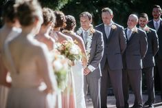 Matt Shumate Photography at Lawson Gardens outdoor summer wedding ceremony groom saying his vows during the ceremony