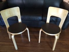 A Pair of Alvar Aalto Chairs // Light wood by ModernaireMCMStudios, $749.50
