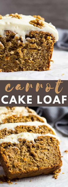 Carrot Cake Loaf - An incredibly moist and delicious carrot cake loaf that is packed full of flavour, loaded with grated carrot, and topped with a thick cream cheese frosting! #carrotcake #cake