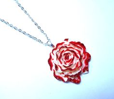 Red Queen Alice in Wonderland Blood Red Painted Roses Necklace - One of a Kind on Etsy, $22.00
