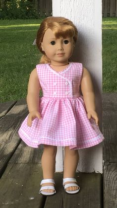 18 doll pink and white gingham dress with white rick