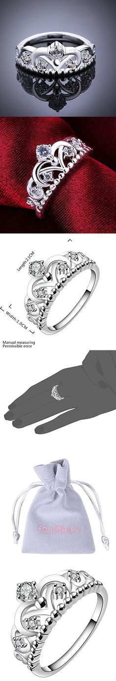 Women's 925 Sterling Silver Gorgeous CZ Princess Crown Tiara Band Wedding Cz Eternity Ring , Best Promise Rings for Her Anniversary Arrow Wedding Bands fourHeart Collection Jewelry Rings