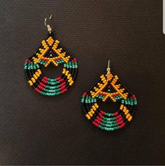 Seed bead earrings Appx inches long plus hook inch width Bead Jewellery, Seed Bead Jewelry, Seed Bead Earrings, Diy Earrings, Statement Earrings, Beaded Earrings Native, Beaded Earrings Patterns, Beading Patterns, Tribal Earrings