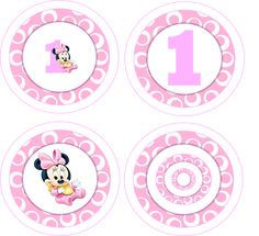Baby Minnie Mouse 1st Birthday Party Cupcake Toppers