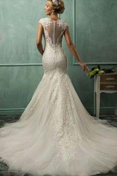 Parte trasera. Vestido de novia. Hermoso