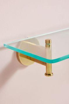 Bridgette Glass Shelf | Anthropologie Glass Shelf Brackets, Shelves Above Toilet, Glass Shelves In Bathroom, Floating Glass Shelves, Gold Bathroom, Bathroom Inspo, Bathroom Ideas, Gold Shelves, Small Shelves