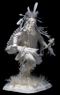 Native American Paper Sculpture by Allen & Patty Eckman American Indian Art, Native American Art, American Indians, Origami, Sculpture Textile, Paper Sculptures, Book Art, 3d Laser, Paper Artwork