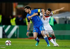 Kevin Volland of Germany challenges Matteo Bianchetti of Italy during the U21 International...