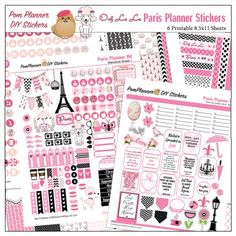 Paris Printable Planner Kit in Pink & Black #pomplanner Poodles, Macaroons, Eiffel Tower, Coffee, Cameo, French Word Art, Washi tape, menus, icons, Happy Planner and Erin Condren OVER 400 Stickers!