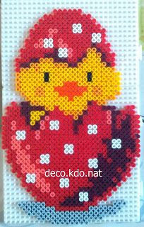DECO.KDO.NAT: Perles hama: poussin coquille rouge