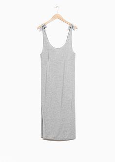 Other Stories image 1 of Tie Shoulder Dress in Grey