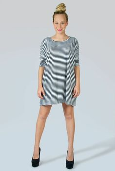Comfy Black and White Striped A line Dress