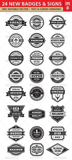 24 new vector badges and signs for your various design works. 100% editable vector! Text and curves versions included! 100% free fonts! Information about the fonts in the help file.
