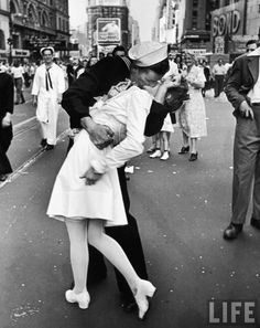 On the day that WW2 ended, Alfred Eisenstaedt wandered the streets of New York City, reveling in and shooting the celebrations of the crowd. Amongst them, he captured one of the most romantic moment in history. As it turns out, the image wasn't romantic at all since the Navy man in the photo had been going around kissing random girls in his jubilation. But the sense of euphoria and relief about the war ending, which the image encapsulates, still defines the end of World War 2.