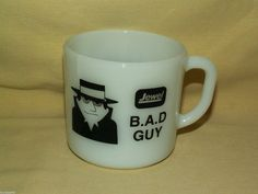 JEWEL MUG B.A.D. BAD GUY I HAD AN IDEA COFFEE TEA CUP WHITE MILK GLASS 5120 4