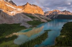 At the foot of Crow - An elevated view of Crowfoot Mountain and Bow Lake.