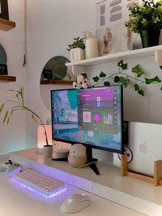 Bedroom Setup, Room Ideas Bedroom, Bedroom Games, Room Design Bedroom, Bedroom Decor, Computer Gaming Room, Gaming Room Setup, Pc Setup, Game Room Design