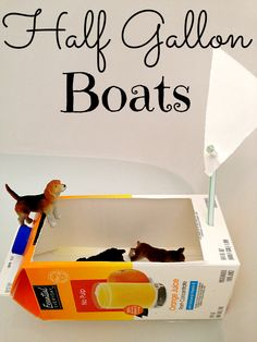 Repurposing Half Gallon Containers into boats for the bathtub or float in a pond!