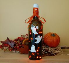 Wine Bottle Crafts with Lights | Wine bottle light Halloween decoration by ... | Fun arts and crafts