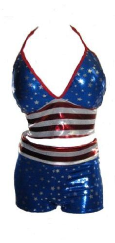 Perfect for the fourth of July or any Patriotic Event. Spaghetti string ties around the neck and back of the Halter top. Shorts can be worn rolled down at waist line or up for an old school effect. Shorts are Just long enough to cover butt   	 		 			 				 					Famous Words of... more details available at https://perfect-gifts.bestselleroutlets.com/gifts-for-women/clothing-shoes-jewelry-gifts-for-women/product-review-for-delicate-illusions-womens-short-set-2-tone-halter-