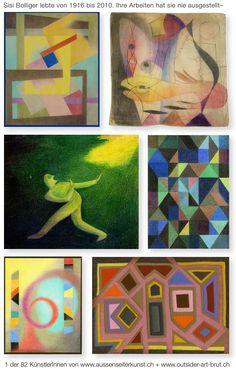 Sisi Bolliger, 1916-2010,  lebte in Zürich. Sie zeichnete und malte als junge Frau und dann wieder nach langem Unterbruch. 1980 begann sie mit Textilarbeiten und anschliessend mit kleinformatigen Farbstiftzeichnungen, die sie zwar in ihrem näheren Umfeld verschenkt, aber nie ausgestellt hat. Sisi Bolliger ist eine der Künstlerinnen, die auf der Webseite für Aussenseiterkunst gezeigt werden.