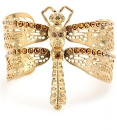 Crystal Bead Embellished Dragonfly Cuff - Alexander McQueen