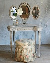 Antique French Victorian Vanity, Stool & Tri Fold Mirror Roses-blue,mirror,chintz,chair,dressing room, bath,child,rare,floral,barbola,bow