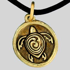 """Brotherhood of  The Green Turtle""  Bronze on Leather Cord necklace - www.rellergold.com"
