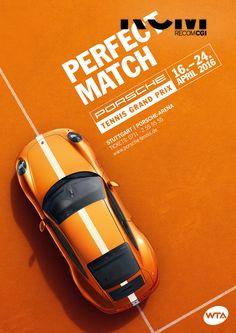 Publicité - Co-branding advertising campaign - Porsche + Tennis Grand Prix 2016 Creative Advertising, Ads Creative, Creative Posters, Advertising Design, Creative Design, Advertising Campaign, Graphisches Design, Game Design, Layout Design