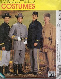 McCalls 9425 Mens Civil War Uniform and Frontiersman   costume sewing pattern Daniel Boone and Native American Scout by mbchills