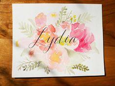 Custom Floral Watercolor Name