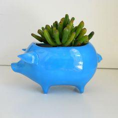 Ceramic Pig Planter Vintage Design in Turquoise