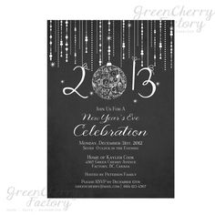 Printable Chalkboard New Year Invitation  by GreenCherryFactory, $15.00