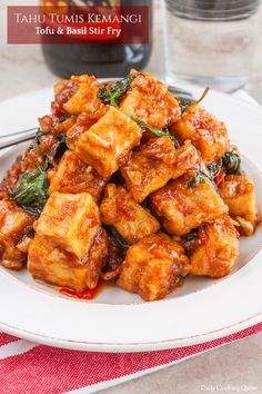 Whenever I buy tofu, I love turning a couple of blocks at once into fried tofu cubes. They are so handy to quickly whip up a batch of satisfying meal, such as this tahu tumis kemangi - tofu & basil stir fry. I also like to add them to my salad :) Tofu Recipes, Asian Recipes, Cooking Recipes, Healthy Recipes, Ethnic Recipes, Healthy Dinners, Gourmet Recipes, Delicious Recipes, Chicken Recipes