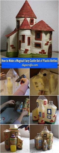 How to Make a Magical Fairy Castle Out of Plastic Bottles - Really easy project and the best part it costs almost nothing! via diy garden projects How to Make a Magical Fairy Castle Out of Plastic Bottles Fairy Crafts, Diy And Crafts, Crafts For Kids, Recycle Crafts, Garden Crafts, Garden Projects, Repurpose, Garden Tools, Easy Projects
