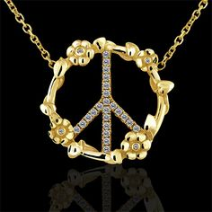14K Yellow Gold Art Diamond Flower Micro Pave Peace Sign Pendant $999 #orospot #pendant #necklace #jewelry #diamond #peace #14K #gold