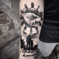 grandfather tattoo Family tattoo By Nelson Limited Availability at newtestamenttattoo studio Father Daughter Tattoos, Father Tattoos, Tattoos For Daughters, Tattoo For Son, Hand Tattoos For Guys, Baby Tattoos, Family Tattoos For Men, Baby Tattoo For Dads, Quote Tattoos