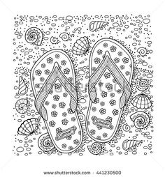 Coloring book for adult. Sea beach. Slippers, sand and shell. flip flop