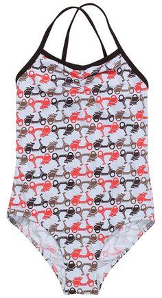 cute scooter print swimsuit for girls Kids Swimwear, One Piece Swimwear, Kids Bathing Suits, Luxury Swimwear, Cute Swimsuits, Tween Girls, Stylish Girl, Beachwear, Kids Outfits