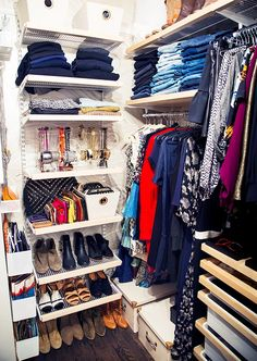 3 Amazing Closet Makeovers: See the Before and After Pictures via @WhoWhatWear I love the bins for wallets, and the full height shelf for shoes and folded jeans.