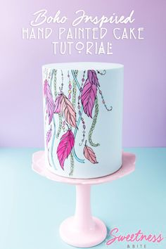 Hand-Painted Cake Tutorial: Step-by-step instructions on how to paint a cake, from tracing a design onto your cake, to filling in and outlining the design. ~ Sweetness and Bite Cake Decorating Techniques, Cake Decorating Tutorials, Cake Pops, Dream Catcher Cake, Boho Cake, Watercolor Cake, Hand Painted Cakes, Un Cake, Gateaux Cake