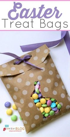 Easter Treat Bags |  DIY Easter Treat bags for the perfect little gift. The cute silhouette bunny filled with pastel candies will brighten anyone's day! Click on the photo for the tutorial. TodaysCreativeLife.com