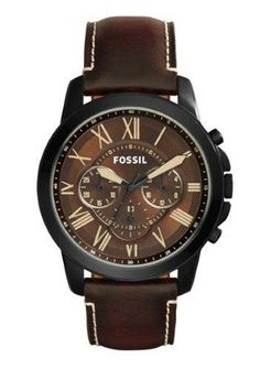 The Dead Stylists Society - Fossil Men's Chronograph Grant Dark Brown Leather Strap Watch - Men's Watches - Jewelry & Watches - Macy's Herren Chronograph, Brown Leather Strap Watch, Dark Brown Leather, Fossil Watches For Men, Men's Watches, Diamond Watches, Men Accessories, Men Watches, Men's Clothing