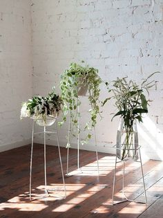 A trio of leggy wire plant stands will strike graceful ballerina poses—did they rehearse that?—in the corner of any room. When the weather improves, move the set outdoors or onto a covered porch.