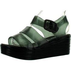 Forever Skimm-36 Women's Fashion Jelly Pu Platform Flatform Sandals ($23) ❤ liked on Polyvore featuring shoes, sandals, black, black jelly sandals, platform jelly shoes, flatform shoes, jellies shoes and black flatform shoes
