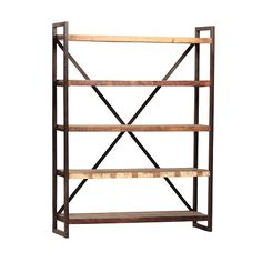 Iron frame with painted and distressed reclaimed wood  open shelves.