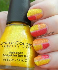 Sinful Colors Face the Facets, Orange Crush, Ruby Mine | Be Happy And Buy Polish #prom nail art