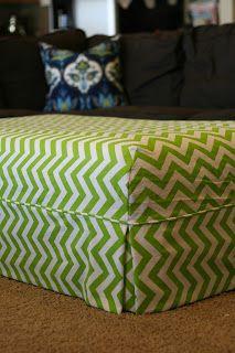 Custom Slipcovers by Shelley: Green Chevron Ottoman