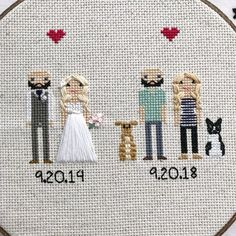 Anniversary Gift Cross Stitch Family Portrait Then and Now Cotton Anniversary Gift Wedding Couple Linen Anniversary Present for Her Gift for Cotton Anniversary Gifts, Anniversary Gifts For Couples, 2nd Anniversary, Anniversary Present, Homemade Wedding Gifts, Homemade Anniversary Gifts, Cross Stitch Family, Presents For Her, Sentimental Gifts