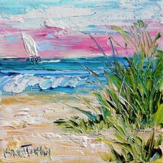 Original oil palette knife painting Beach Morning Sunrise 6x6 by Karensfineart: